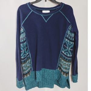 Anthro Ruby Moon Green Color Block Knit Sweater